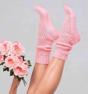 Носки женские вязаные розовые