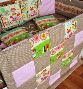 Бортики, одеялко, наволочка и простынь на резинке