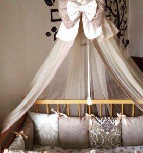 бортики подушки + постельное бельё.