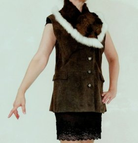 Жилетка замша, кролик шуба полушубок пальто куртка