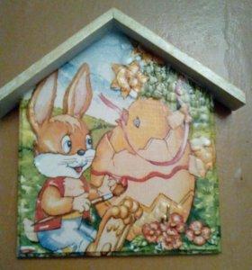 Деревянные ключницы - домики на стену