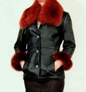 Куртка кожа пальто шуба полушубок 42-44 р-р