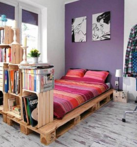 Кровать из паллет (европоддонов)