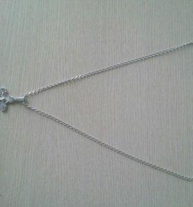 Цепочка и крестик 925 проба, серебро