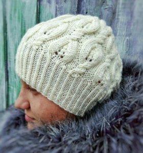 Вязаная шапка, осенняя, меринос, с косами