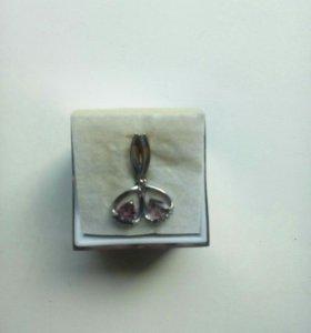 Серьги серебро с аметистами и фианитами