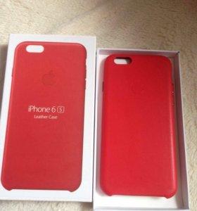 Красный кожаный чехол на iPhone 6/6s