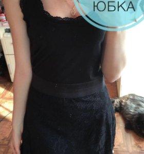 Платье с гипюровой юбкой