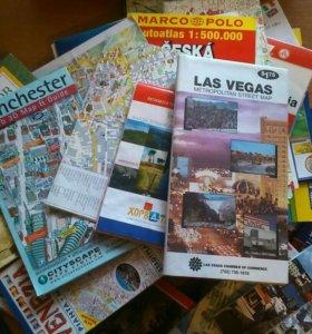 Карты городов, географические. (ок.70 шт)