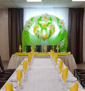 Оформление свадебных залов тканями, шарами
