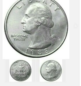 LIBERTY 1988 USA QUARTER DOLLAR
