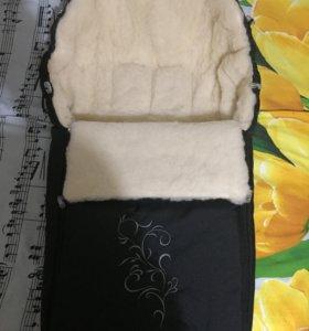 Меховой конверт для коляски (новый)