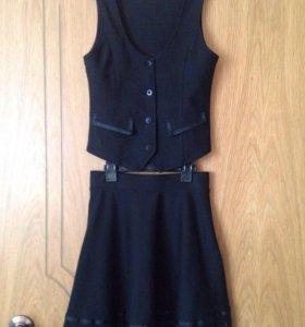Школьная форма, комплект юбка-жилет