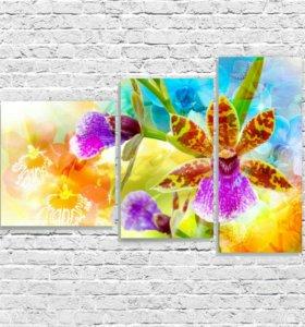 модульная картина яркие цветы, в наличии!