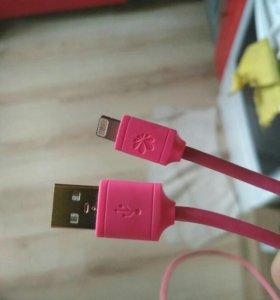 Кабель розовый lightning iphone