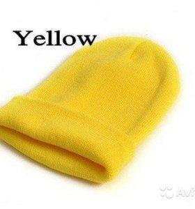 """Молодёжные шапки """"унисекс"""" жёлтый/синий/розовый"""