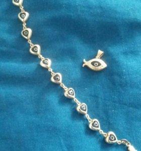 Серебряный браслет и кулон