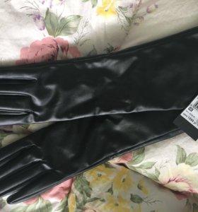 Перчатки длинные кожзам