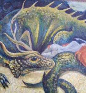 Картина маслом .Дракон и девушка .