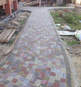 Монтаж брусчатки и бетонирование