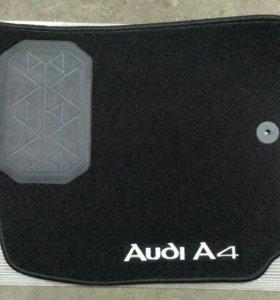 Ворсовые коврики в салон Ауди А4 с логотипом