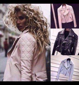 Новая Косуха / куртка кожаная пурпурно-розовая