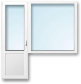 Блок балконный пвх deceuninck, окно 1350*1380 мм, дверь лева.