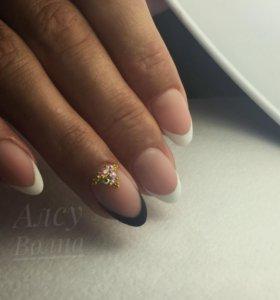 Укрепление ногтей твёрдым гелем + маникюр
