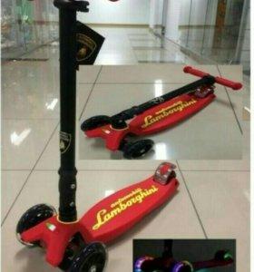 Новые. Трехколесный самокат Lamborghini красный