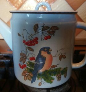 Винтажный чайник со снегирем СССР