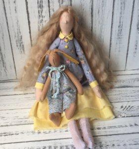 Интерьерная кукла Тильда с зайчиком
