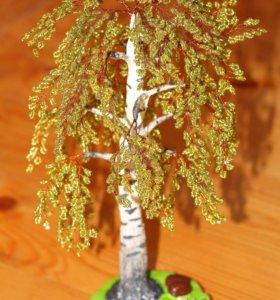 Дерево из бисера. Берёза.