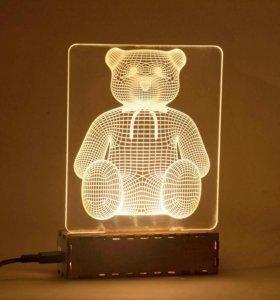 """Ночник-светильник """"3D Мишка"""""""