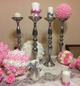 Украшения стола на свадьбу помпоны подсвечники