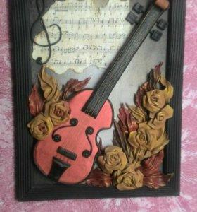 Картина из кожи Скрипка
