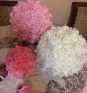 Помпоны на свадьбу шары из роз