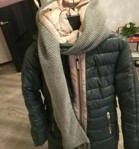 Куртка зимняя с шарфом, пальто