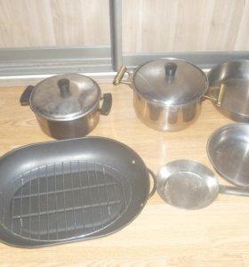 Сковородки и кастрюли ложки тарелки из нержавейки