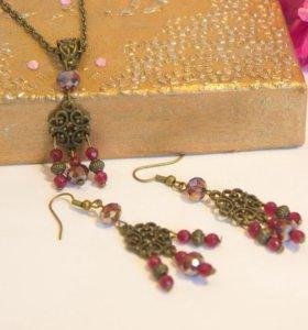 Бронзовые сережки и подвеска с рубином и сваровски