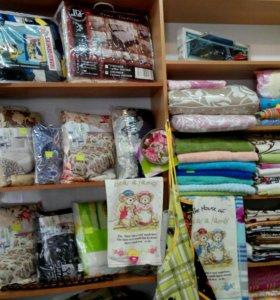 Подушки, одеяла, пледы, постельное бельё, полотенц