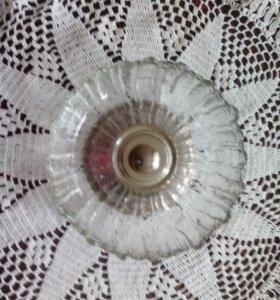 Конфетница стекло, основание металл СССР