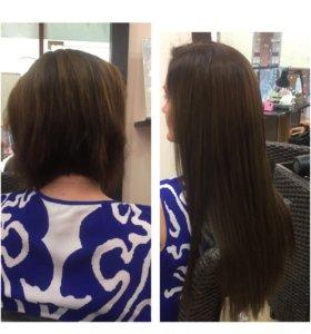 Наращивание волос , макияж причёска