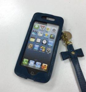 Защитный кожаный Чехол на iPhone 5