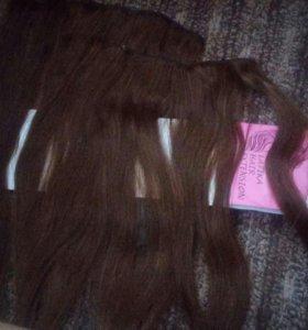 Натуральные волосы на заколках 55см