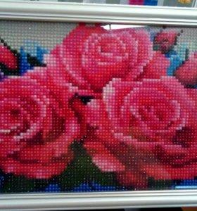 """Картина из страз """"Розовые розы"""",Алмазная живопись"""