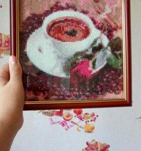 """Картина из страз """"Чашка кофе"""", Алмазная живопись"""