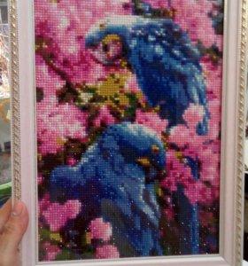 """Картина из страз """"Пара попугаев"""",Алмазная живопись"""