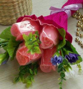 Мыло ручной работы - букет из 5 роз