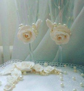 Свадебные бокалы и подушечки для колец!!!