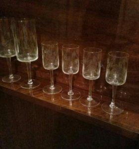 4 рюмки и 2 бокала